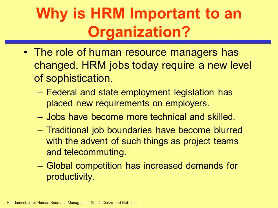 Role Of Human Resources In Organizations
