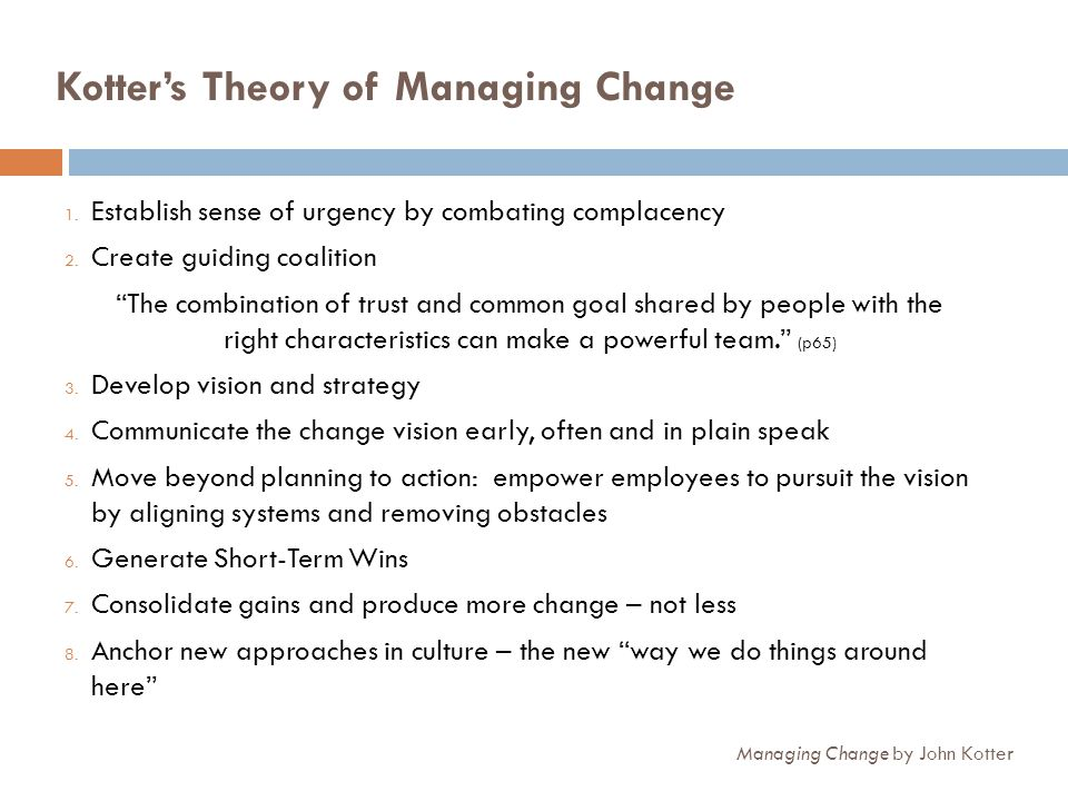 Kotter's Theory of Managing Change