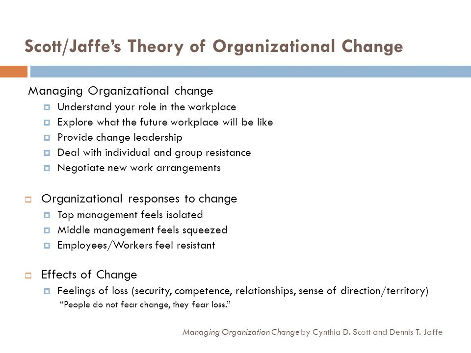 Scott/Jaffe's Theory of Organizational Change