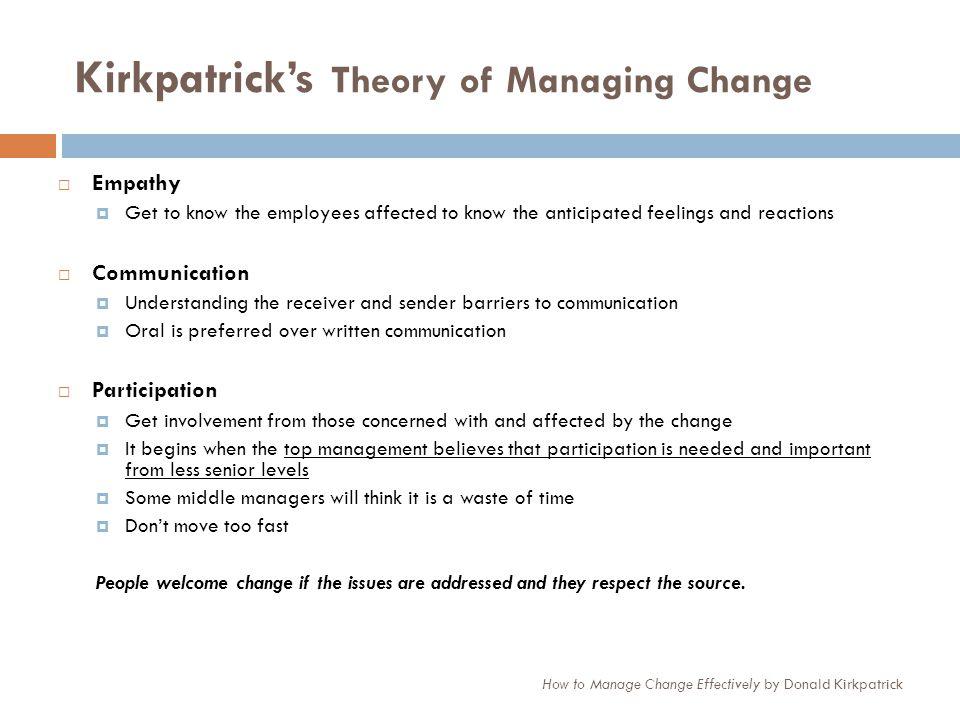 Kirkpatrick's Theory of Managing Change