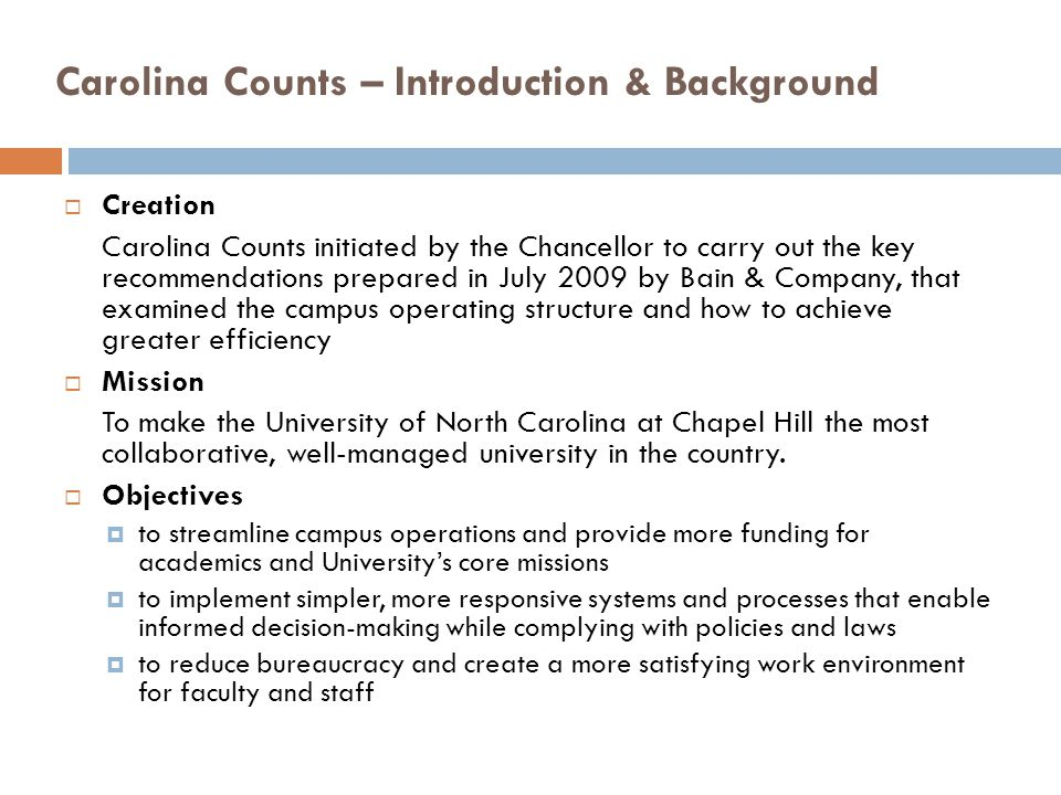 Carolina Counts – Introduction & Background