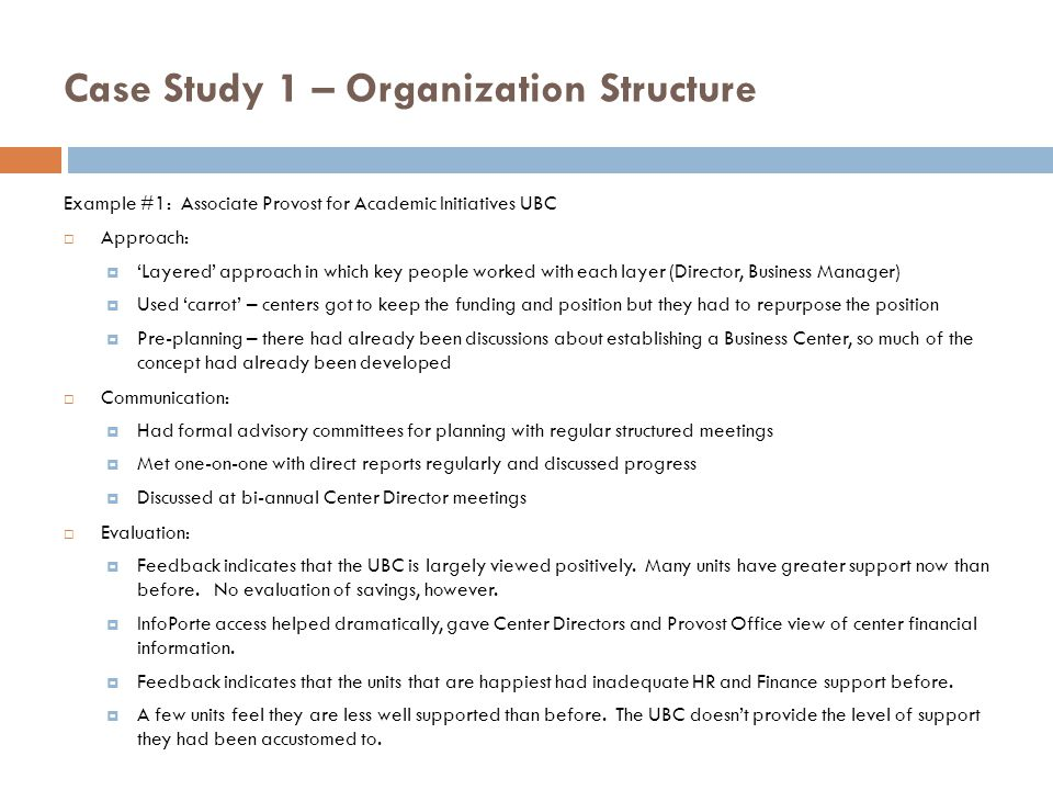 Case Study 1 – Organization Structure