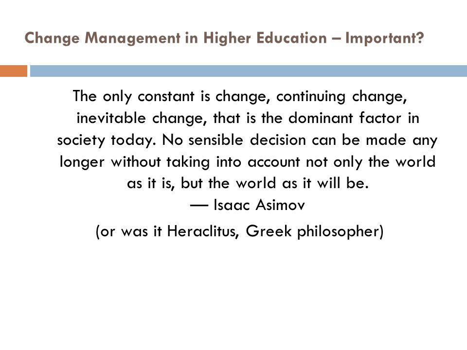 Change Management in Higher Education – Important
