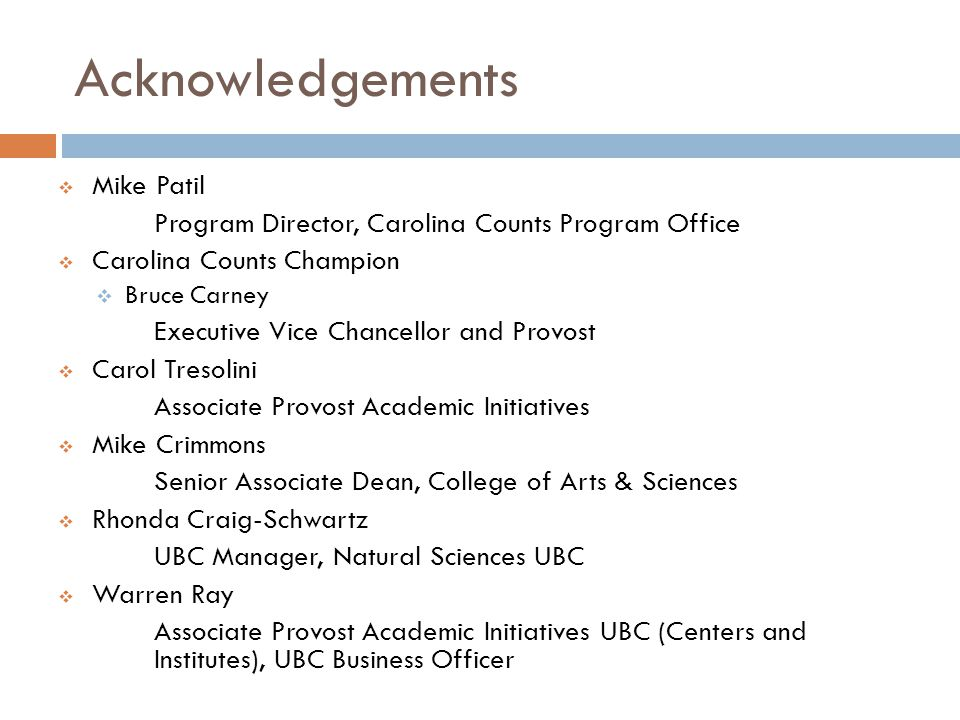 Acknowledgements Mike Patil