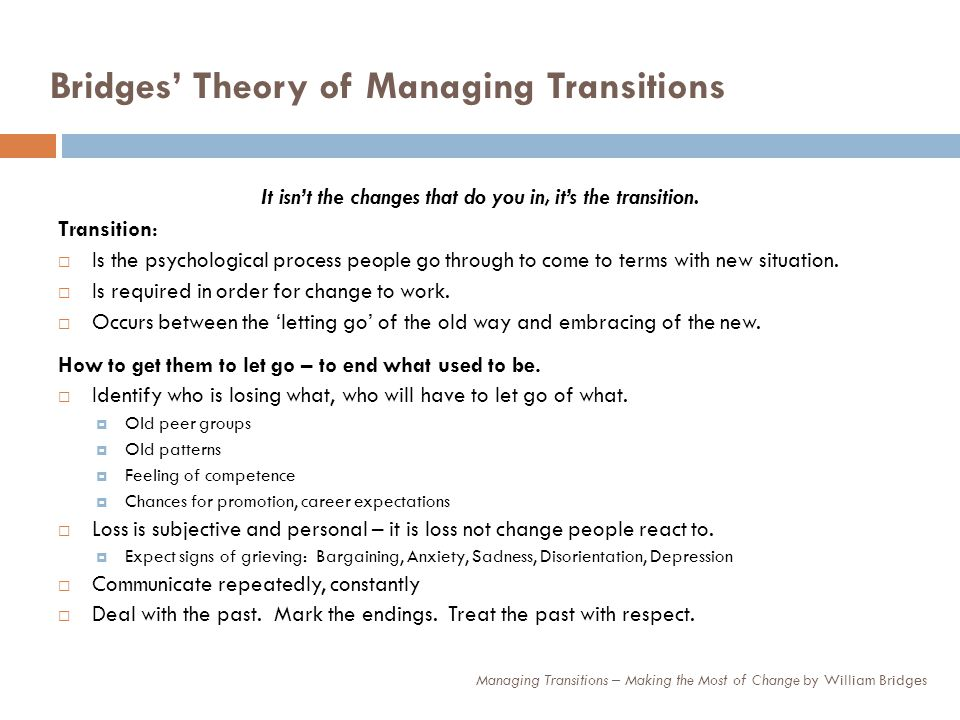 Bridges' Theory of Managing Transitions