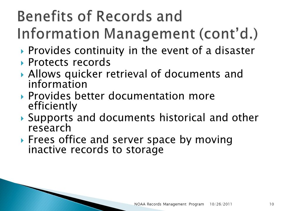 Benefits of Records and Information Management (cont'd.)