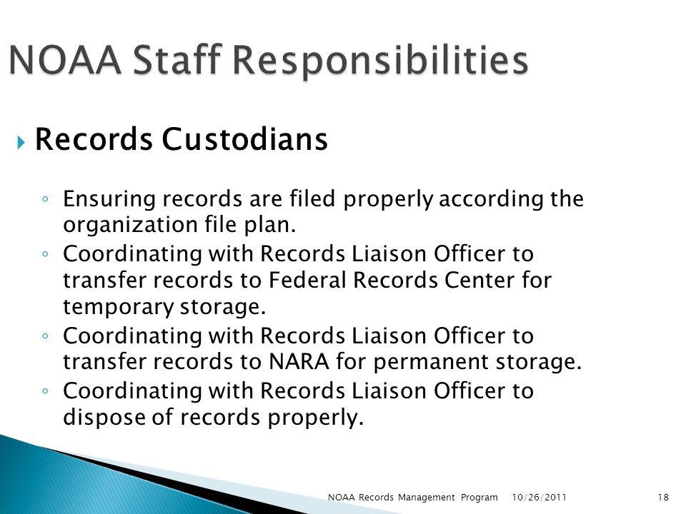 NOAA Staff Responsibilities
