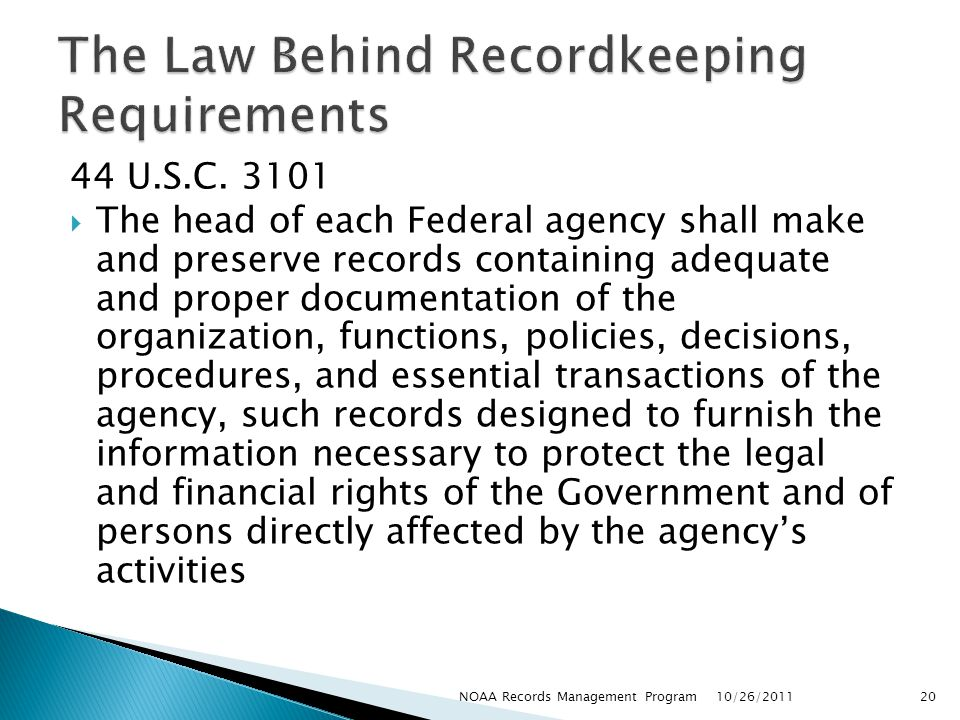 The Law Behind Recordkeeping Requirements
