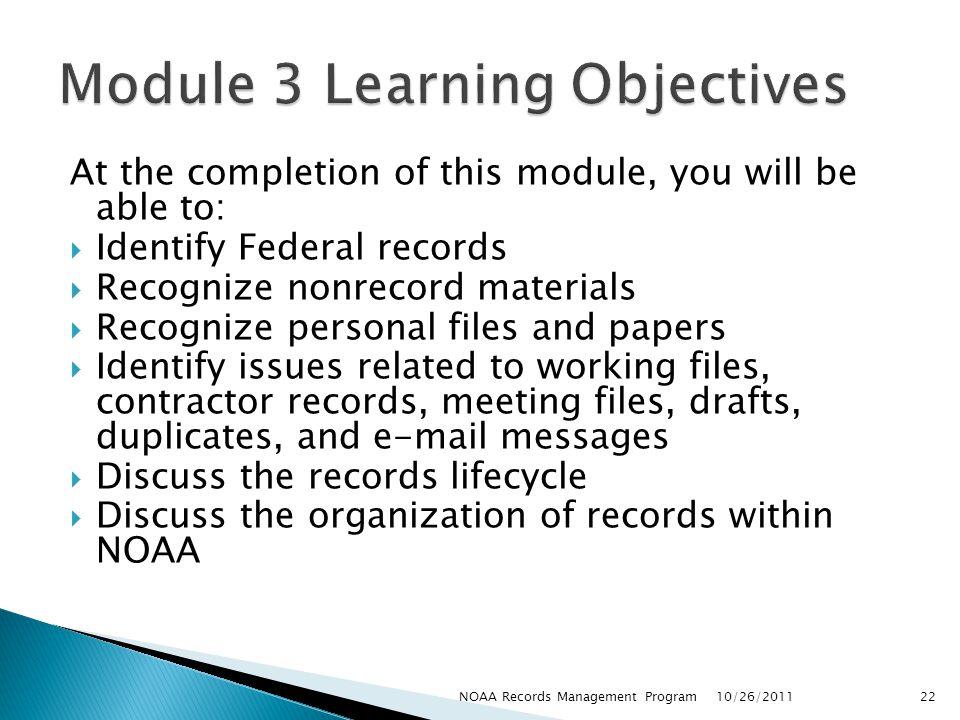 Module 3 Learning Objectives