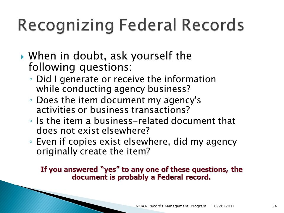 Recognizing Federal Records
