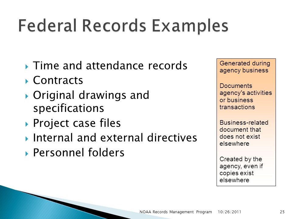 Federal Records Examples