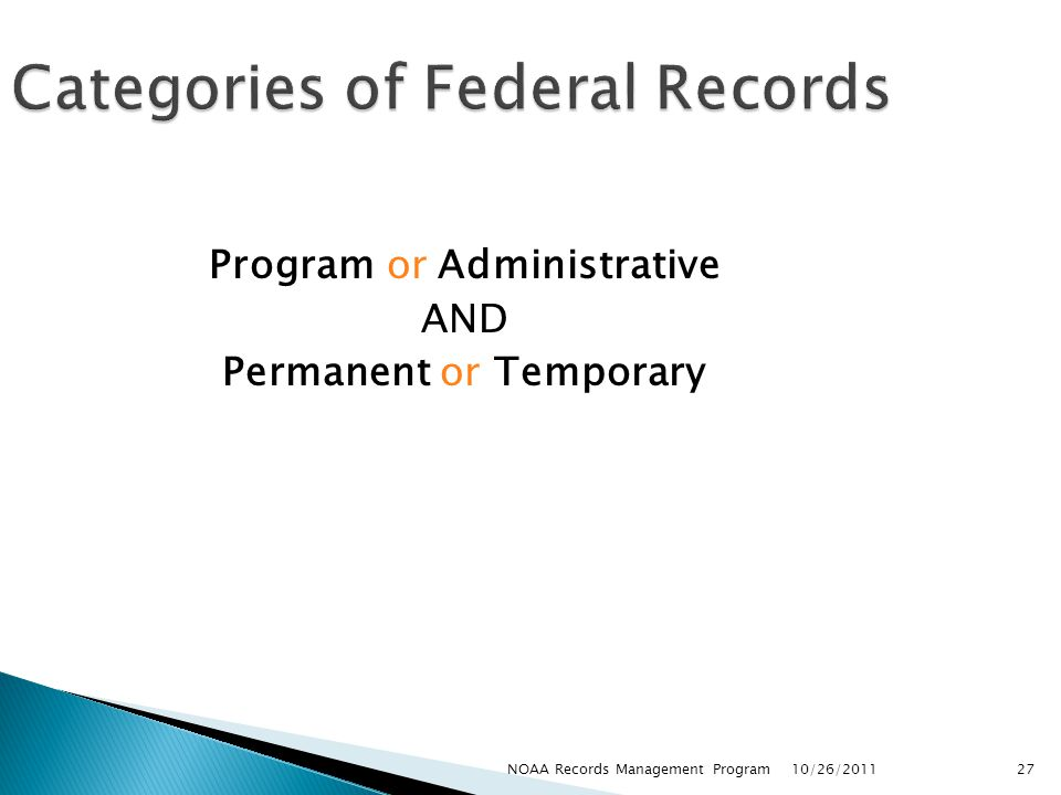 Categories of Federal Records