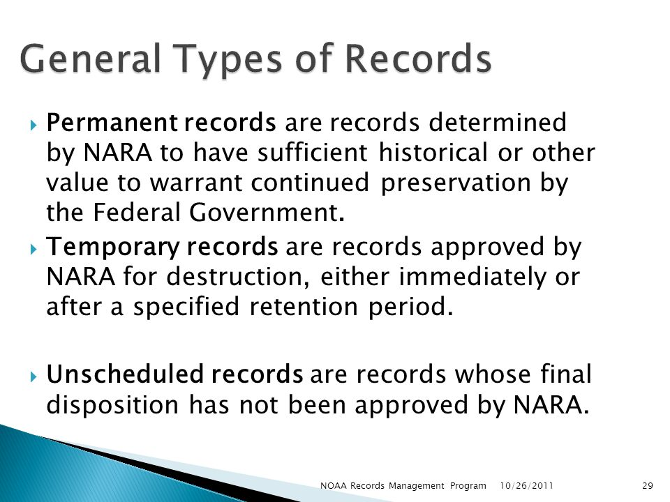 General Types of Records