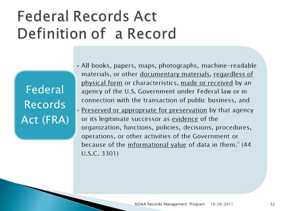 Federal Records Act Definition of a Record