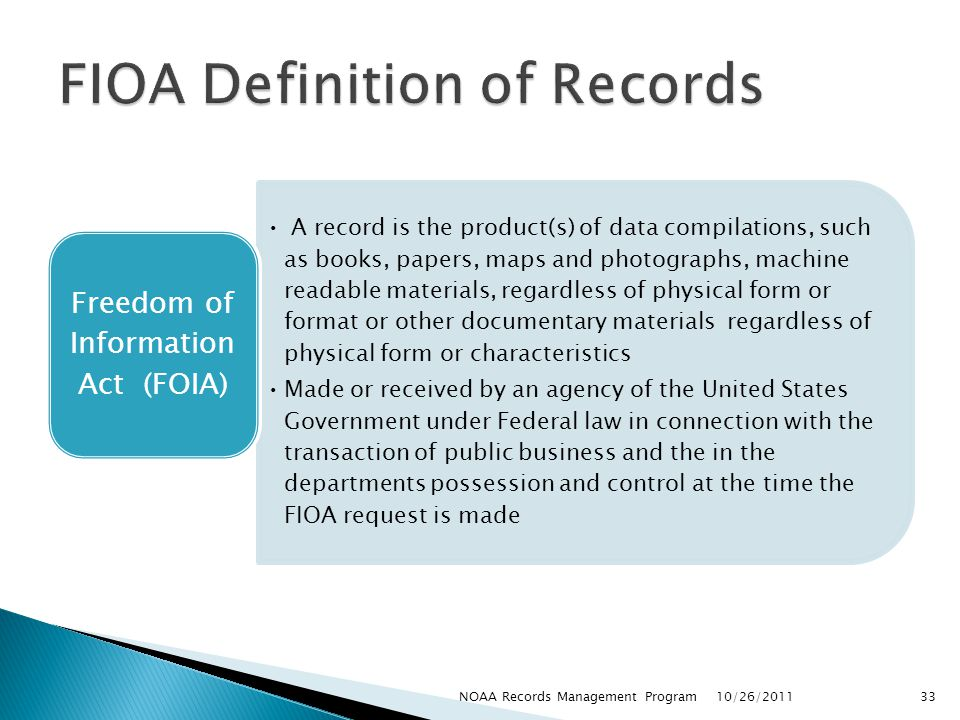 FIOA Definition of Records