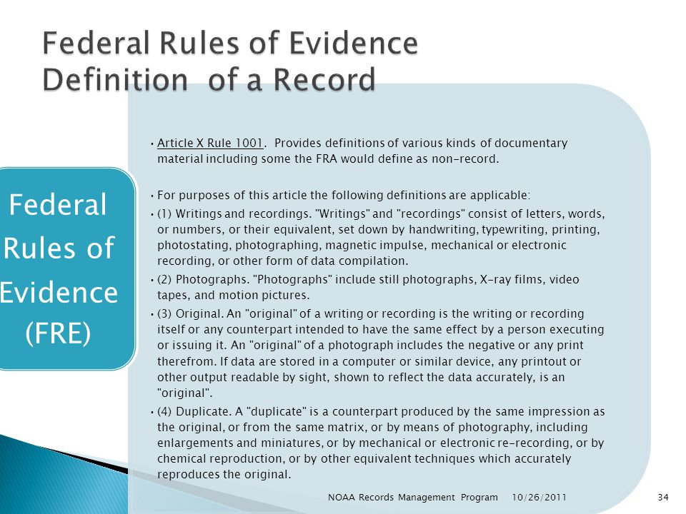 Federal Rules of Evidence Definition of a Record