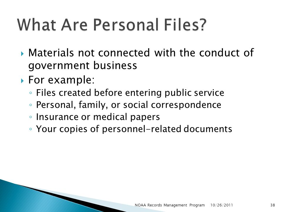 What Are Personal Files