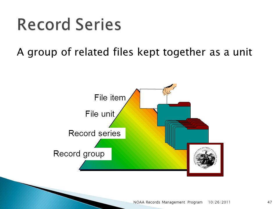 Record Series A group of related files kept together as a unit