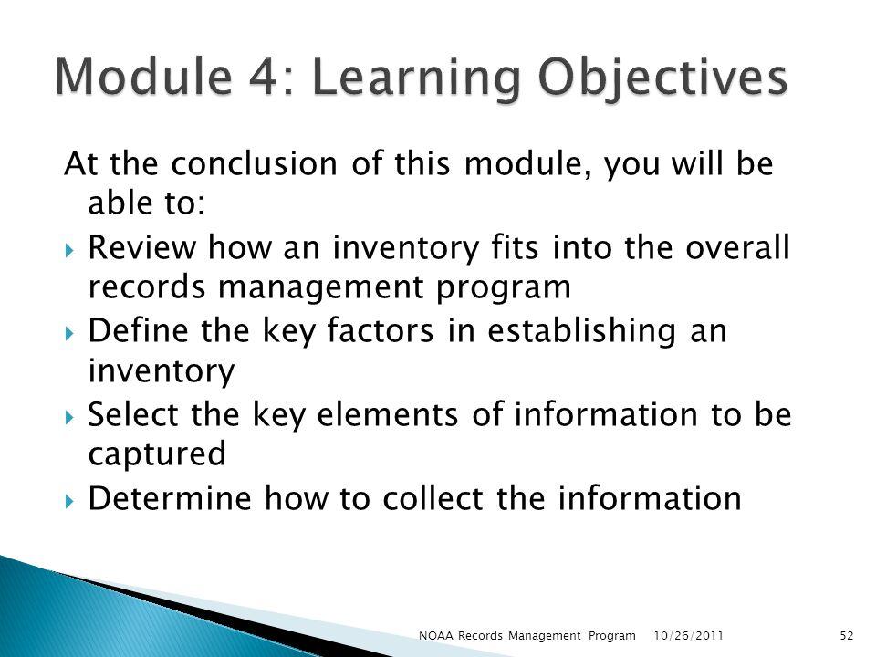Module 4: Learning Objectives
