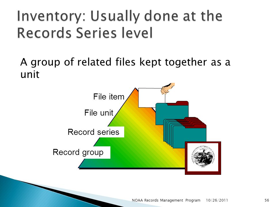 Inventory: Usually done at the Records Series level