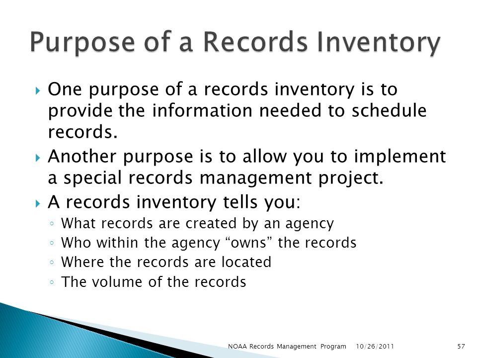 Purpose of a Records Inventory