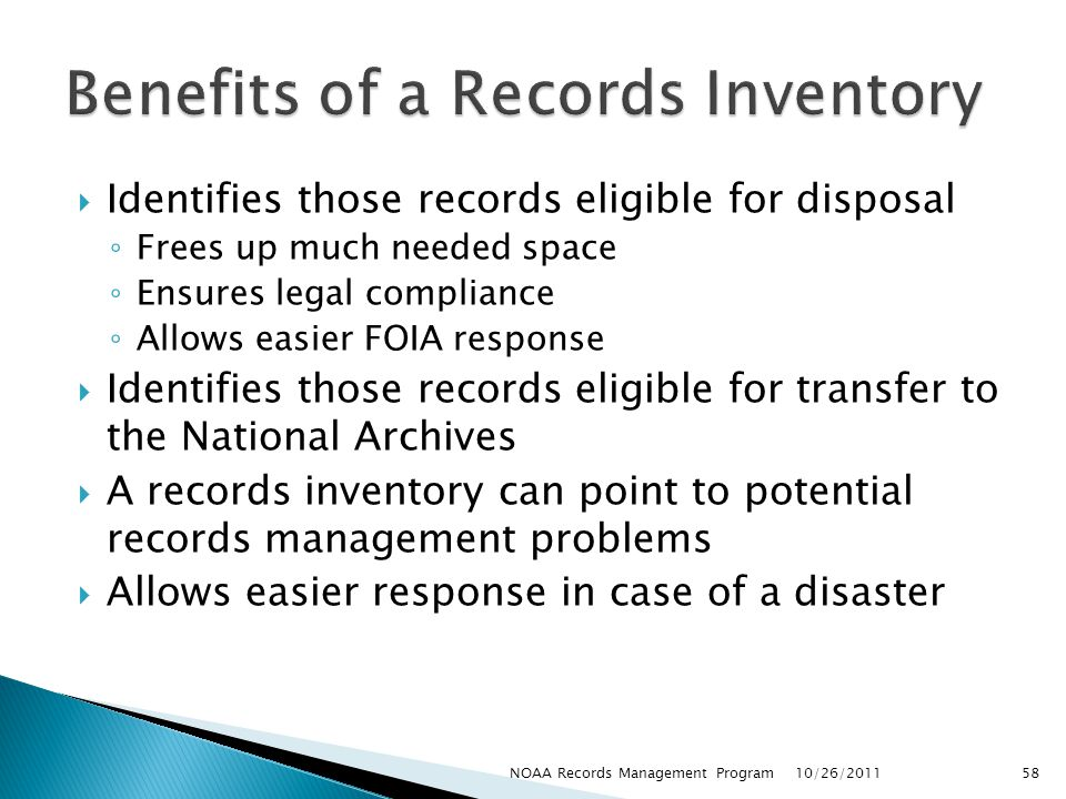 Benefits of a Records Inventory