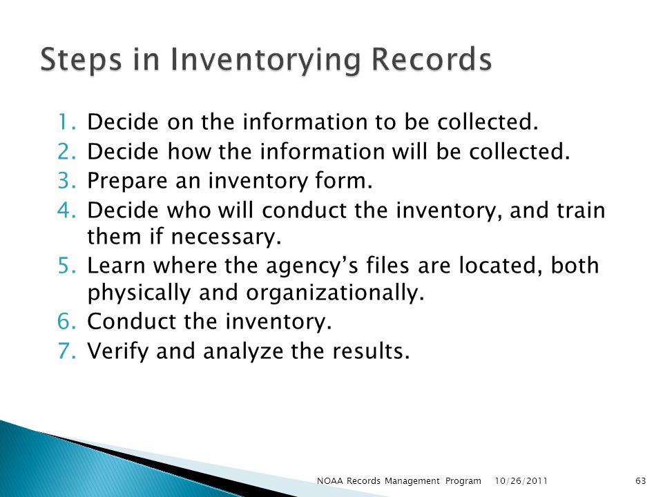 Steps in Inventorying Records