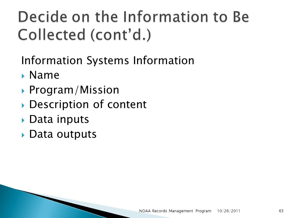 Decide on the Information to Be Collected (cont'd.)