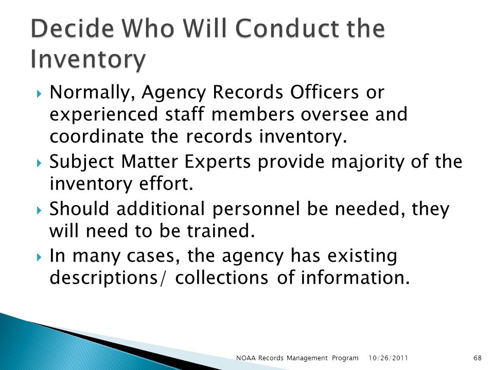 Decide Who Will Conduct the Inventory