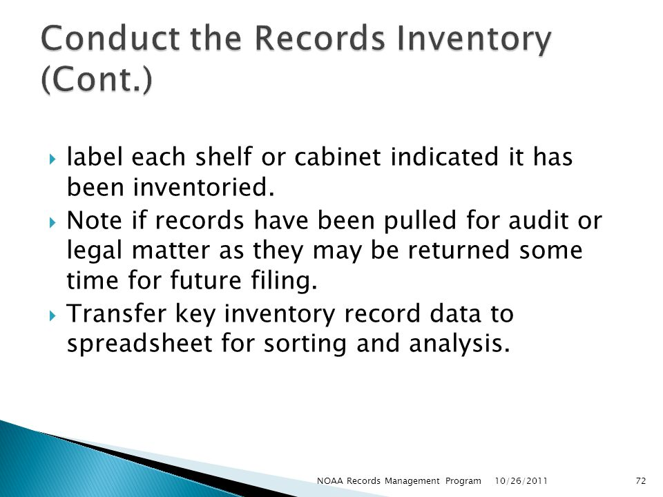 Conduct the Records Inventory (Cont.)