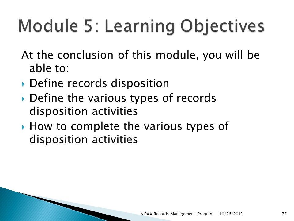 Module 5: Learning Objectives