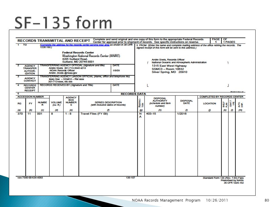 SF-135 form NOAA Records Management Program 10/26/2011
