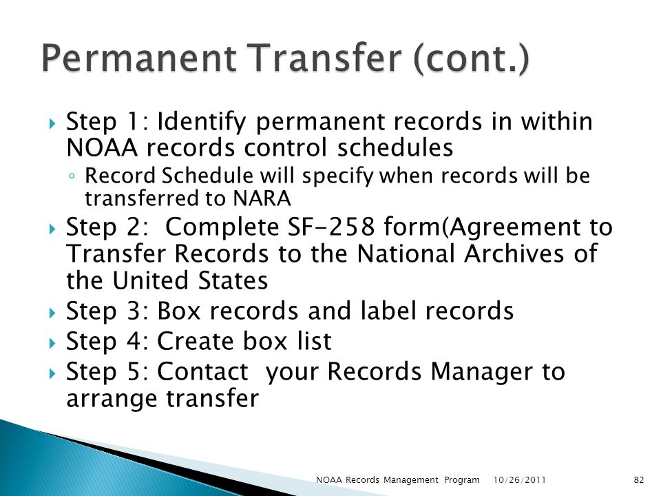 Permanent Transfer (cont.)