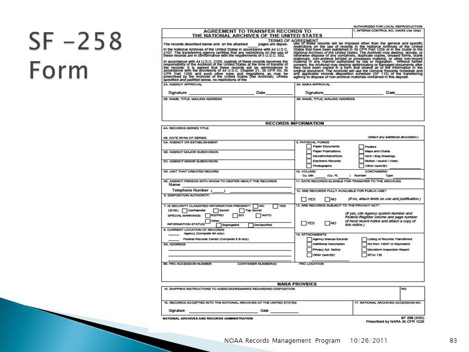 SF -258 Form NOAA Records Management Program 10/26/2011