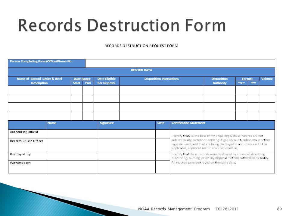 Records Destruction Form