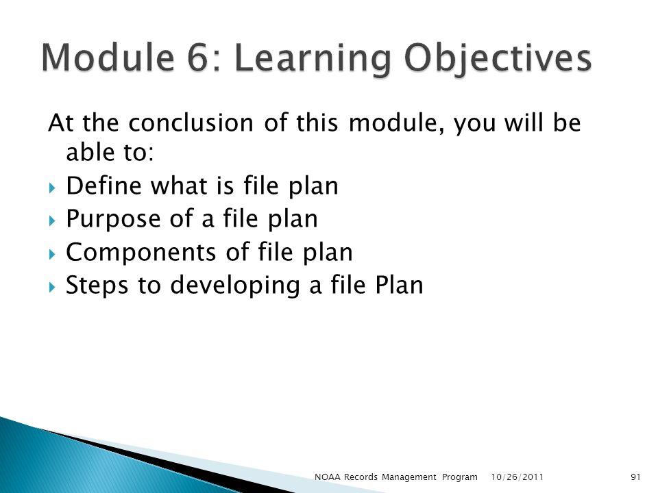 Module 6: Learning Objectives