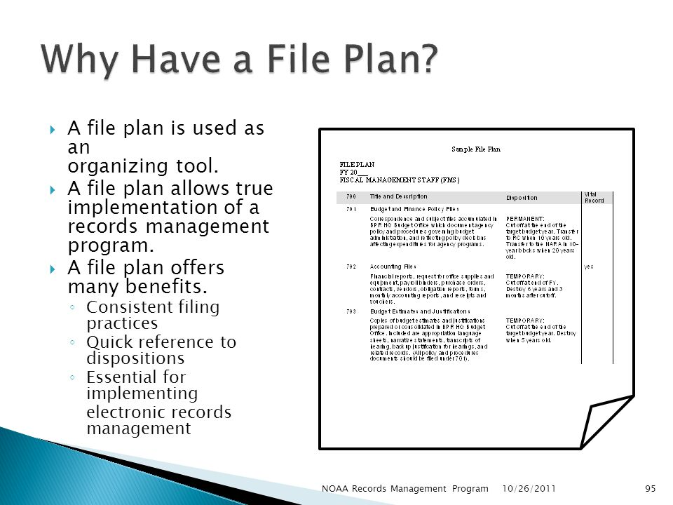 Why Have a File Plan A file plan is used as an organizing tool.