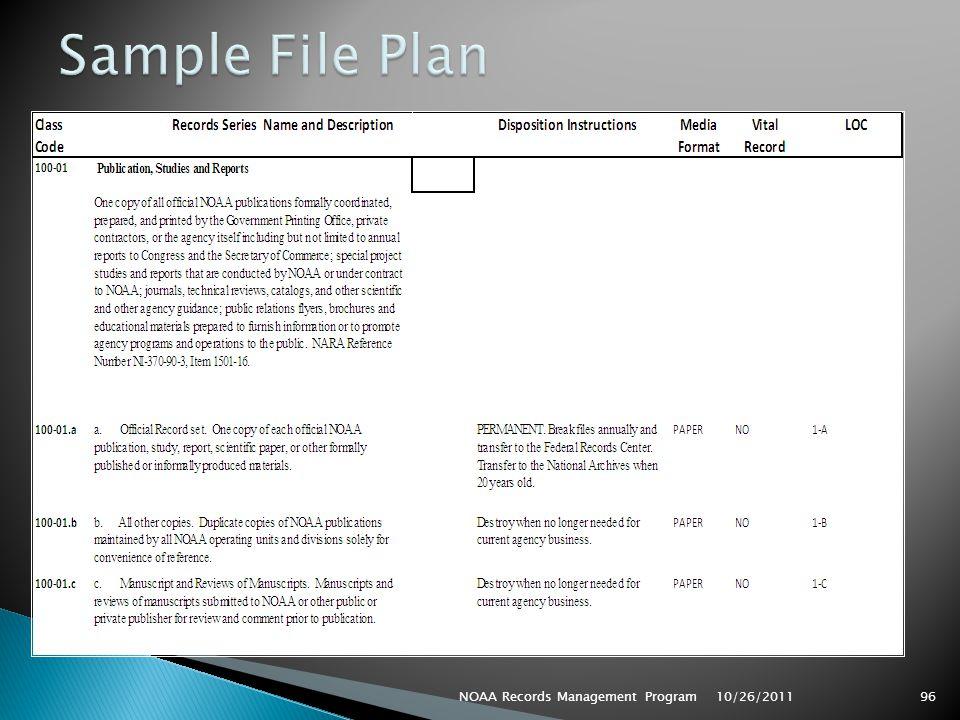 Sample File Plan NOAA Records Management Program 10/26/2011