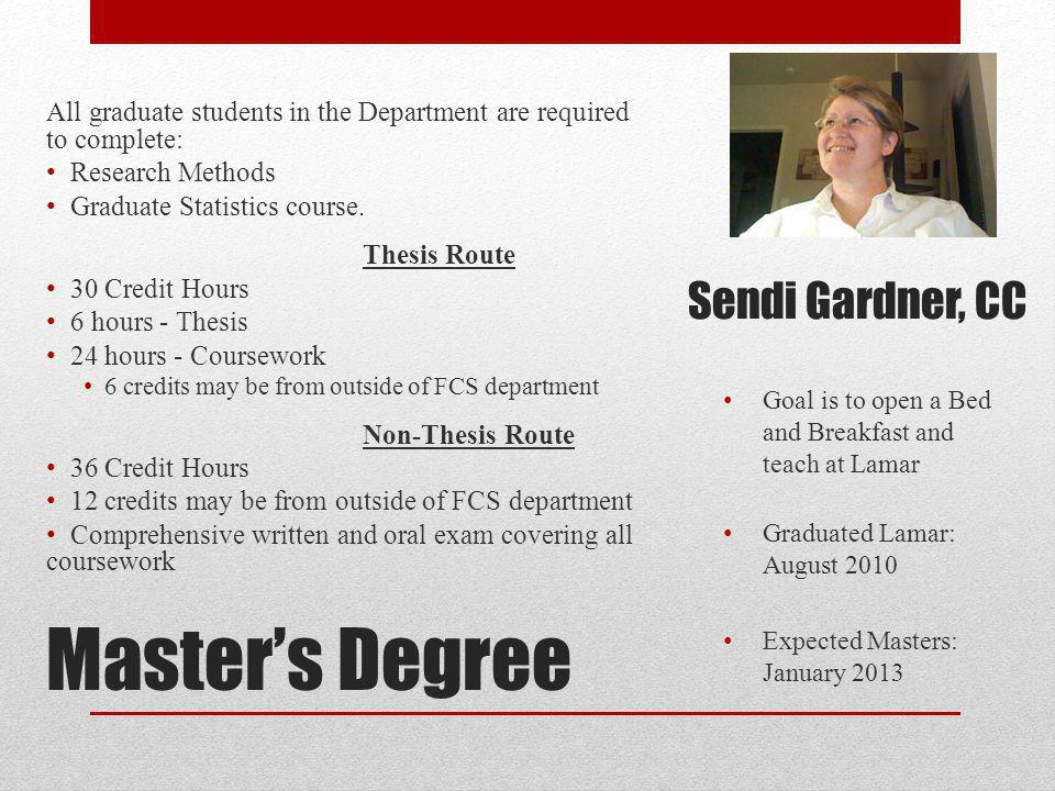 Master's Degree Sendi Gardner, CC