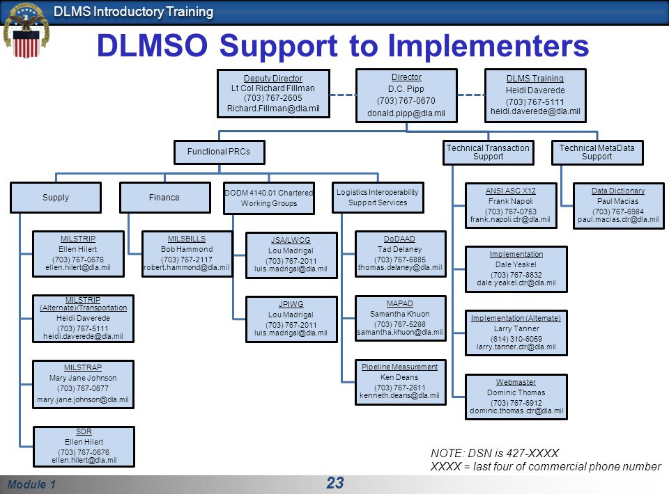 DLMSO Support to Implementers