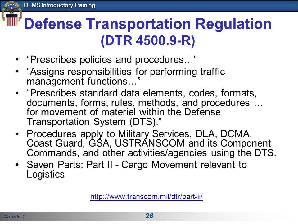 Defense Transportation Regulation (DTR 4500.9-R)
