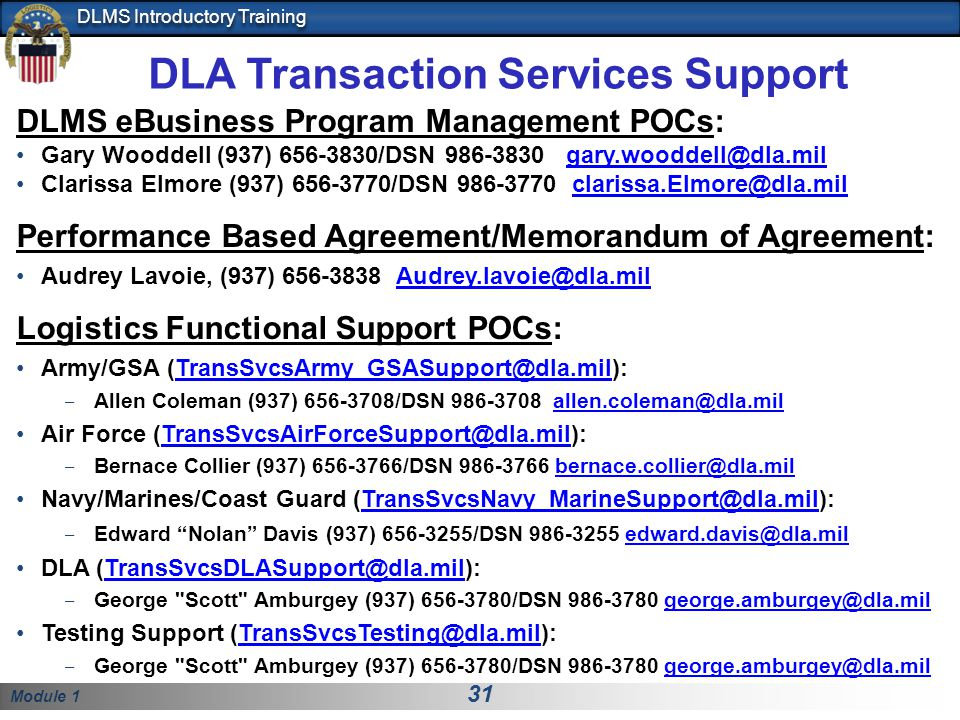 DLA Transaction Services Support