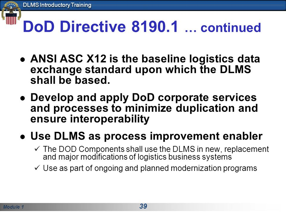 DoD Directive 8190.1 … continued