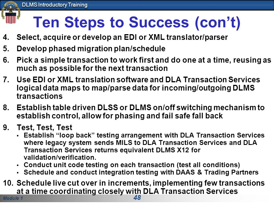 Ten Steps to Success (con't)