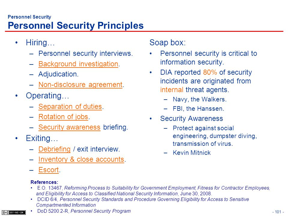 Personnel Security Personnel Security Principles