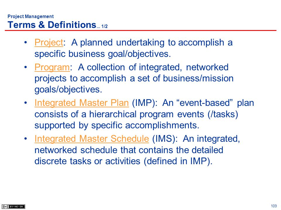 Project Management Terms & Definitions... 1/2