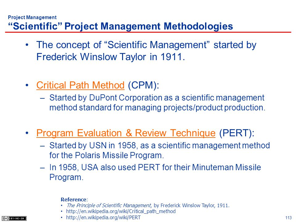 Project Management Scientific Project Management Methodologies