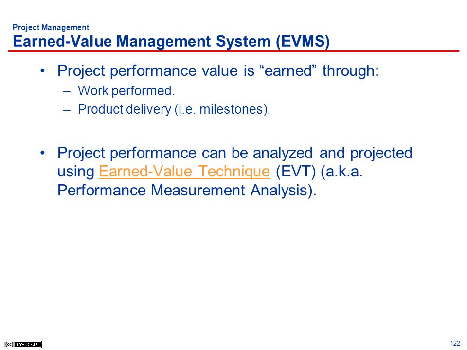 Project Management Earned-Value Management System (EVMS)