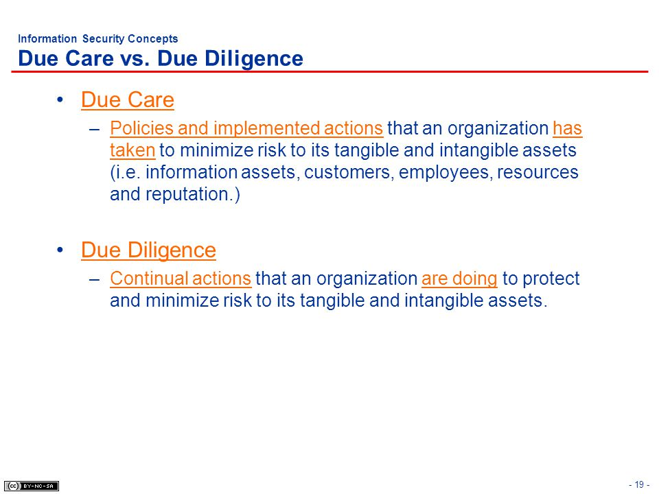 Information Security Concepts Due Care vs. Due Diligence