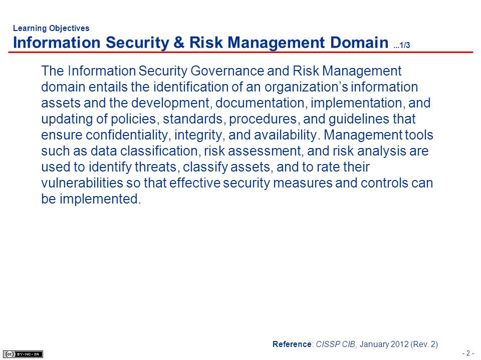 Learning Objectives Information Security & Risk Management Domain ...1/3